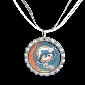 Miami DOLPHINS Handmade Football Necklace